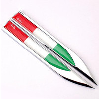 2 Pcs Set Side Wing Metal Blade Fender 3D Stickers Italy Letter Countries National Flag Emblem