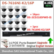 Hikvision Video Surveillance DS-7616NI-K2/16P Embedded Plug & Play NVR 4K + 16pcs Hikvision 8MP H.265 IP Camera DS-2CD2185FWD-IS