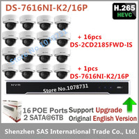 Hikvision Video Surveillance DS 7616NI K2/16P Embedded Plug & Play NVR 4K + 16pcs Hikvision 8MP H.265 IP Camera DS 2CD2185FWD IS