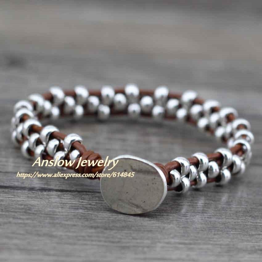 Anslow New Arrival Items Healthy Zinc Alloy Beads Women Men Girls Leather Bracelet Bijoux Charm Jewelry Accessories LOW0383LB 5