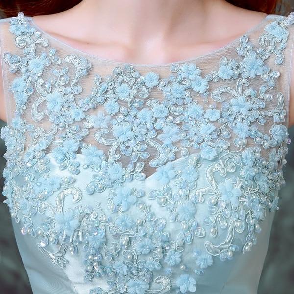 kvinner Himmelsblå sateng garn applique blomstret Perler slank - Nasjonale klær - Bilde 2