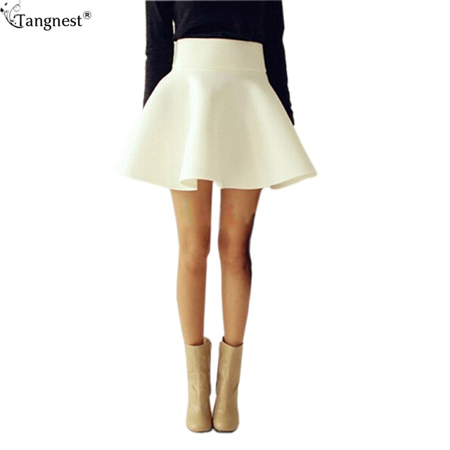 TANGNEST Plus Size Sexy Skirt Women 2017 Solid Thick Tutu Skirts High Waist Flared Super Mini Skater Super Short Skirt WQB314