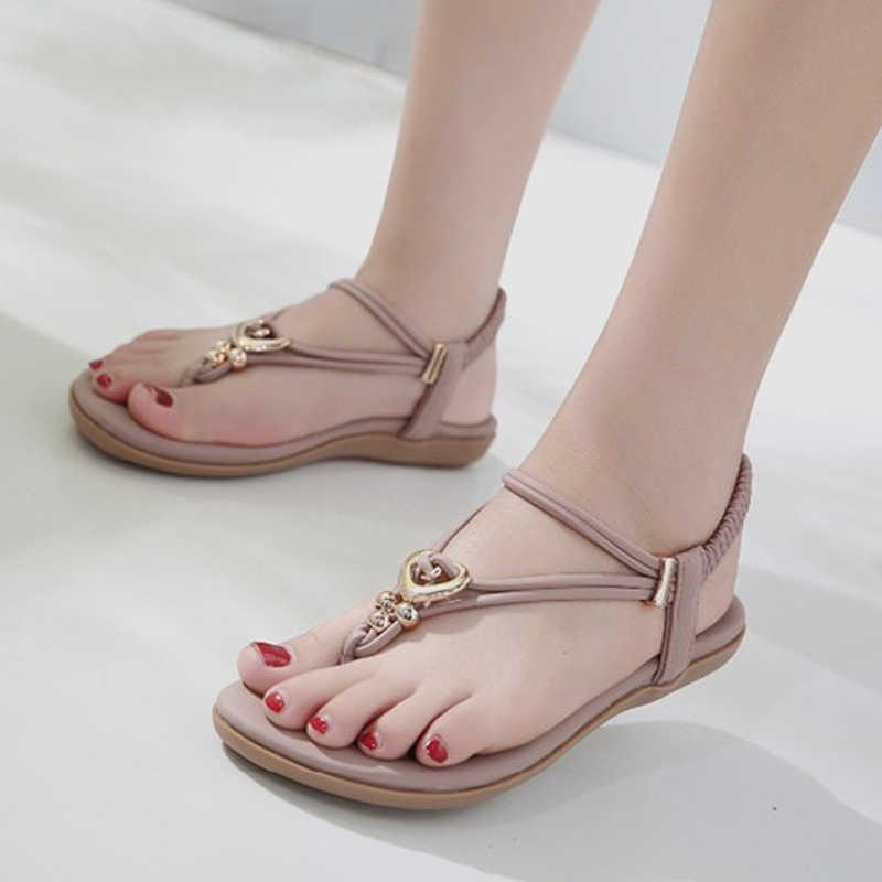 57aba147b15e64 ... TIMETANG Flats Bohemia Ethnic Sandals Women Flip Flops Comfort Soft Shoes  String Bead Metallic Gladiator Rome