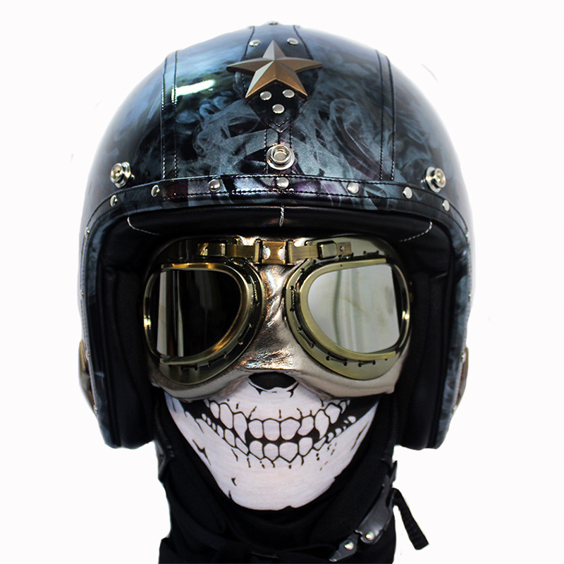 New personality handmade Motorcycle Helmet Retro Vintage Cruiser Chopper Scooter Cafe Racer Moto Helmet 3/4 Open Face Helmet DOT new leather motorcycle helmet retro vintage steampunk cruiser chopper scooter cafe racer moto helmet 3 4 open face helmet dot