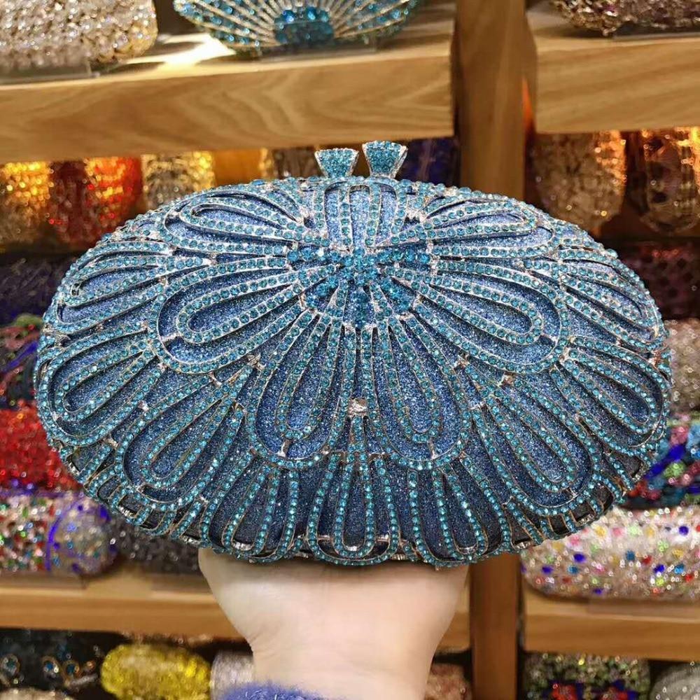XIYUAN women luxury gold silver blue red Crystal Diamond Clutch Bag Square Party Purse Female Pochette