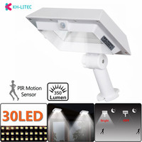 KHLITEC Solar Gutter Lights 30 LED PIR Motion Sensor Solar Lights Waterproof Powered Security Lamp for Outdoor Garden Fence