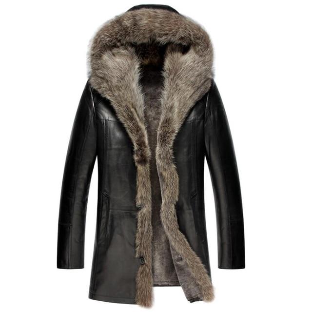 The New Men s Fur Coat Shearling Jacket Luxury Raccoon Fur Collar Hooded  Coat Men Genuine Leather Sheepskin Long Outerwear TJ59 ed88bf367