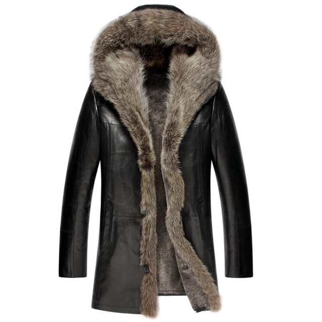The New Men S Fur Coat Shearling Jacket Luxury Raccoon Fur Collar