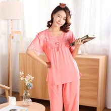 Elegant Sleepwear Casual Round Neck Pajamas Autumn Short Sleeve Tops and Solid Elastic Waist Wide Legs Pants Pajama Sets Pyjamas