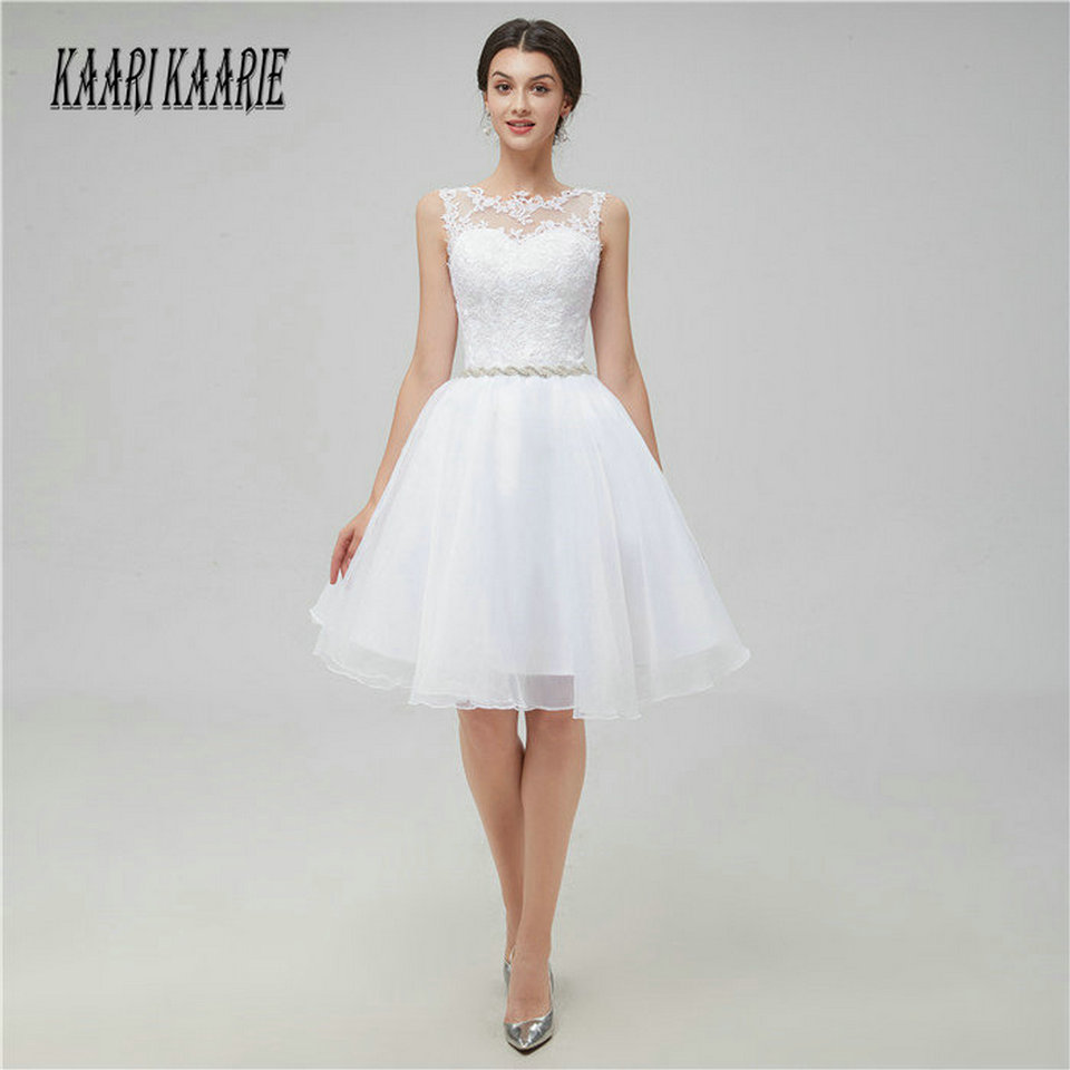Sexy Ivory Short Prom Dresses 2019 Cheap White Prom Dress Scoop Organza Appliques Zipper Knee Length