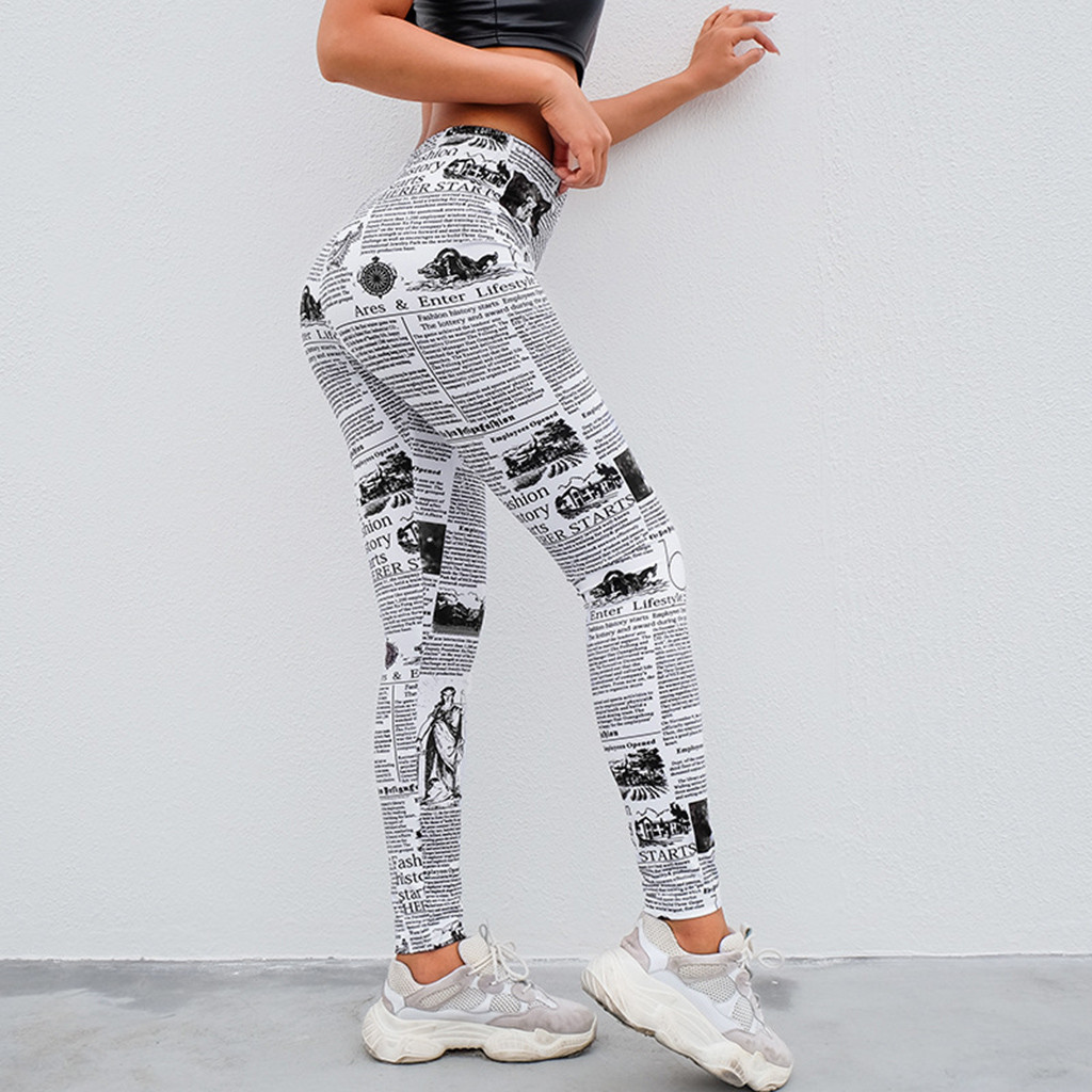 Summer New Women's Legging Fashion Workout Newspaper Print Skinny Sports Gym Running Athletic Pants Polyester Fitness Leggings