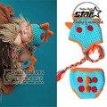 Envío Libre Monster Dinosaurio Del Ganchillo Hizo Punto el Sombrero + la Cubierta Del Pañal 2 Unidades Set Newborn Infant Toddler Kids Traje