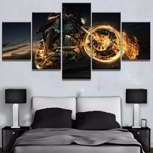 Modular 5 Piece Canvas Art Motorcycle On Fire Cuadros Decoracion Paintings on Wall for Home Decorations Decor
