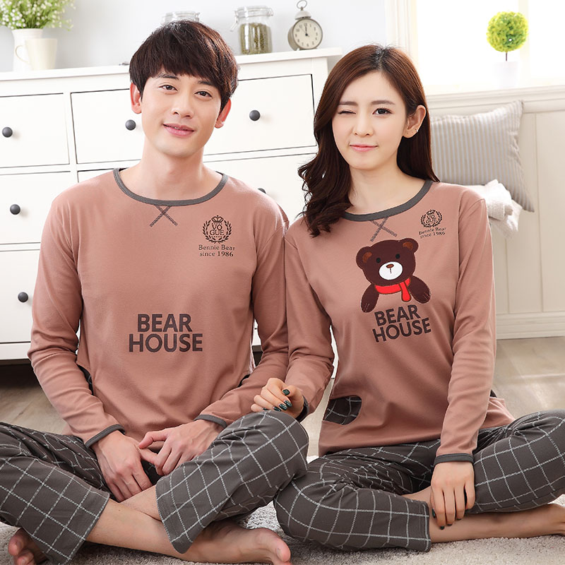 Cotton Couple Pajama Sets Long Sleeve Cartoon Womens Pajamas Set Casual Indoor Clothing Pyjamas Women