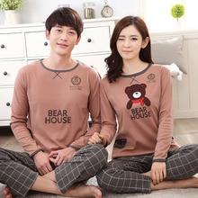 High Quality 100% Cotton Couple Pajama Sets Long Sleeve Cartoon Womens Pajamas Set Casual Indoor Clothing Pyjamas Women