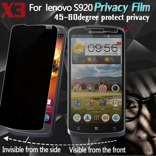 US $6 18  Privacy screen protector for Lenovo S920 anti peeping screen  guard protective phone privacy film with package 3pcs/lot-in Screen  Protectors