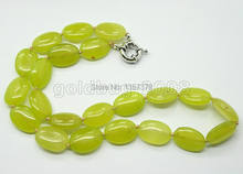 shitou 00371 lemon Jade Smooth Oval Beaded Necklace 5 pcs Hand knotted Jewelry(China)