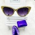 2016 new famoso designer de marca cat eye óculos de sol das mulheres de diamante de cristal de luxo do vintage espelho óculos de sol para senhoras
