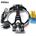 8000 Lumens Farol XM-L T6 2R5 LED Head Light 4 Modos farol Lanterna de Cabeça Caça Lanterna + Carregador AC + Carregador de Carro caixa de Bateria