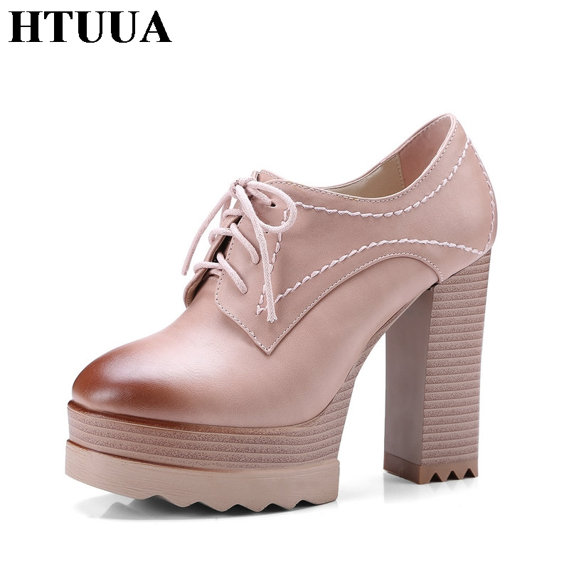 HTUUA 2018 Sexy High Heels Shoes Women Spring Fashion Non-slip Lace-Up 11CM Thick Heel Pumps Platform Shoes Big Size 33-42 SX777 big size 40 41 42 women pumps 11 cm thin heels fashion beautiful pointy toe spell color sexy shoes discount sale free shipping