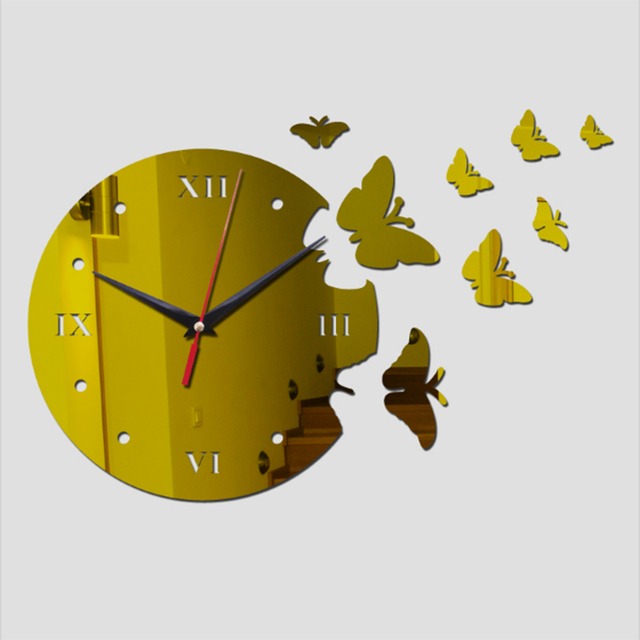 2017 new hot 3d wall clocks 8 butterfly europe home decor living room digital circle acrylic clocks stickers free shipping