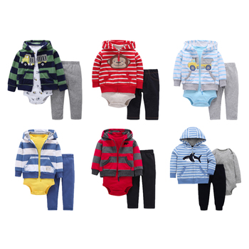 3pcs/set Fashion Baby Clothes Set Kids Clothes Cotton Hooded Jacket Rompers Pants Infant Clothing Jumpsuit Baby Toddler Outfits