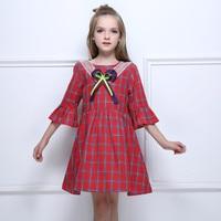 MAGGIE'S WALKER Kid Girls Birthday Party Princess Dresses Flare Sleeve Red Plaid Bowknot Dress Vestido Meninas Children Clothing