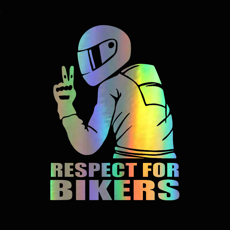 14*19cm Car Sticker Decal 3D Respect For Bikers Stickers On Car Auto Stickers And Decals Funny Motorcycle JDM Vinyl Car Styling(China)