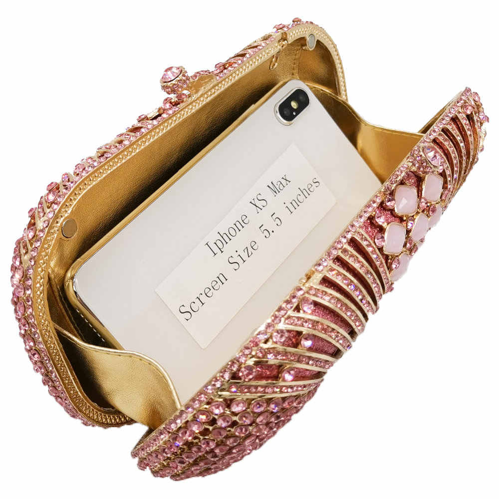 Butik Fgg Berlian Merah Muda Wanita Malam Casing Bridal Crystal Clutch Tas Tangan dan Tas Pernikahan Perjamuan Makan Malam Minaudiere Tas