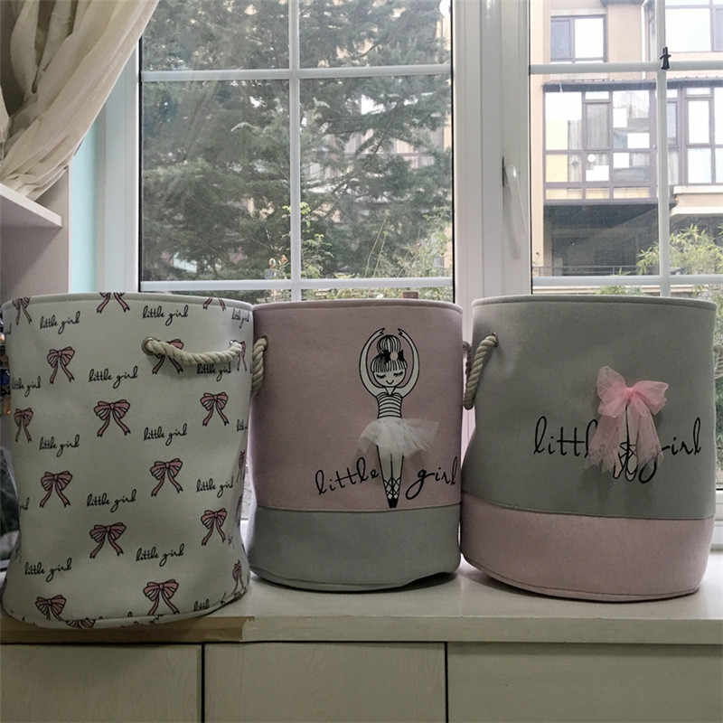 Roze Wasmand Organizer voor Vuile Kleren Katoen Ballet Meisje Boog Print Speelgoed Organizer Home Storage & Organisatie