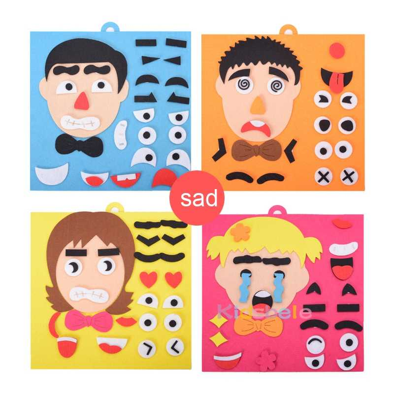 Diy のおもちゃ感情変更パズルおもちゃ 30 センチメートル * 30 センチメートルクリエイティブ表情子供知育玩具子供のための学習面白いセット