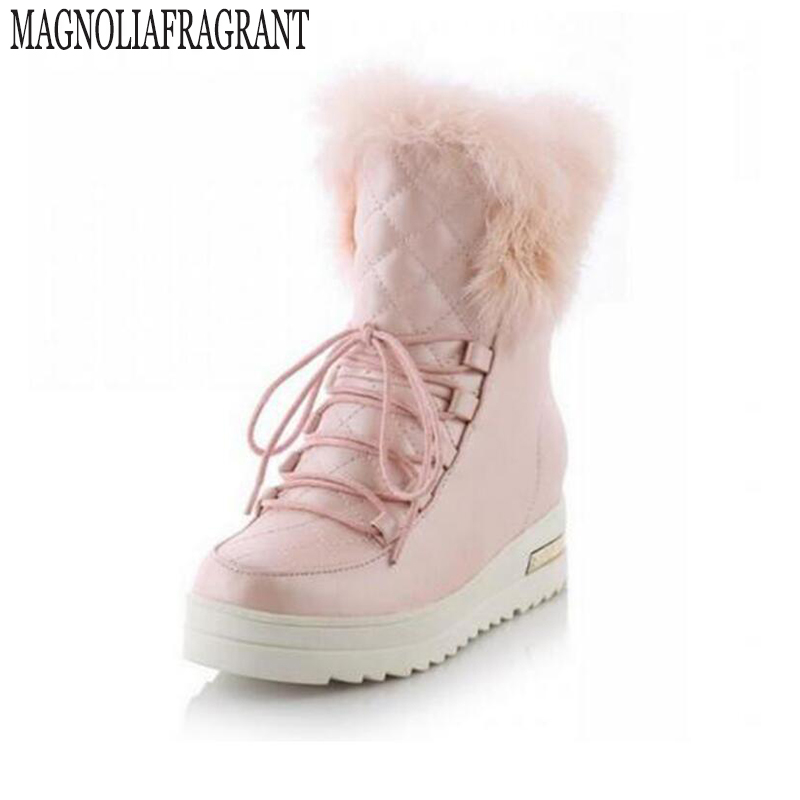 купить warm Fur rabbit fur waterproof snow boots women winter fashion ankle boots big size 34-43 women's winter boots botines mujer 386 дешево