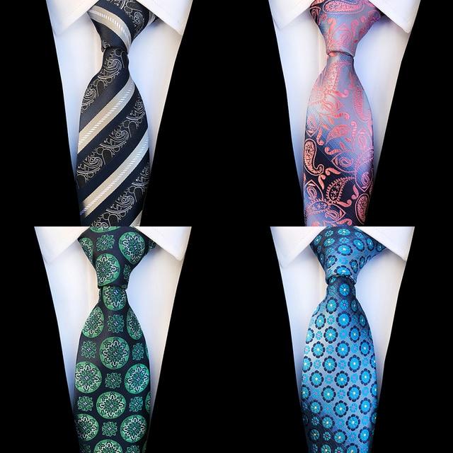 47293db4fc33 Ricnais New Design Floral Paisley Silk Tie for Men Striped Blue Green  Necktie for Wedding Fashion Gradient 8cm Tie Suit Party