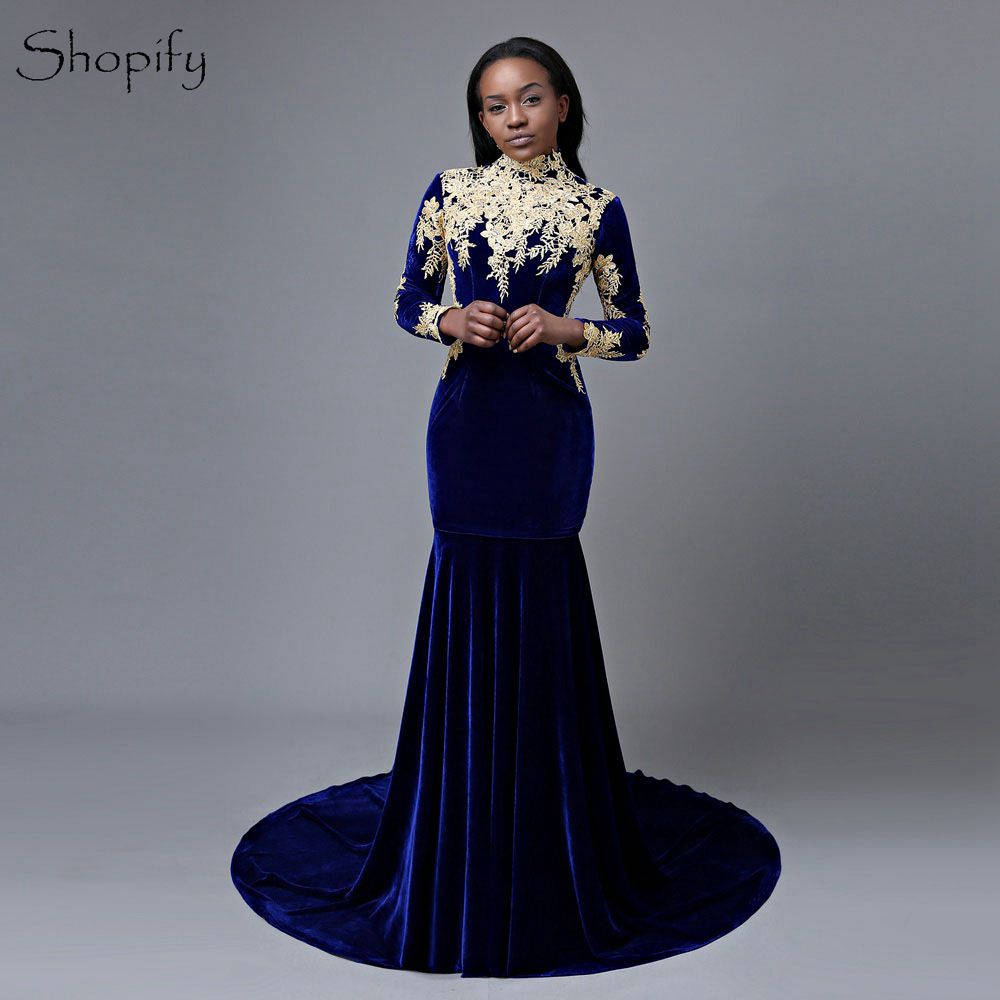 Gorgeous Mermaid High Neck Long Sleeve Gold Lace African Royal Blue Velvet Long   Prom     Dresses   2018