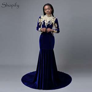 916a471e88c4 shopify Mermaid High Long Sleeve Lace Prom Dresses 2018