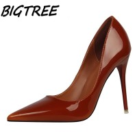 BIGTREE New Summer Women Pointed Toe High Heel Shoes Woman Shallow Pumps Ladies Concise Nightclub Thin