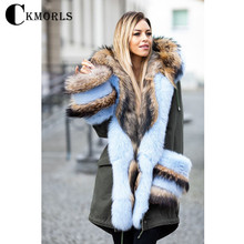 CKMORLS New Fashion Real Fur Parka For Women Winter Coat With Raccoon And Fox Collar Thick Warm Jacket Luxuty Parkas