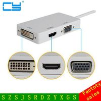 3 In 1 Thunderbolt Mini Display Port DP To DVI VGA HDMI Adapter For MacBook Pro