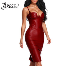 INDRESSME INDRESSME Spaghetti Strap Sexy PU Club Dress Fashion Split Party Dresses For Women 2018(China)