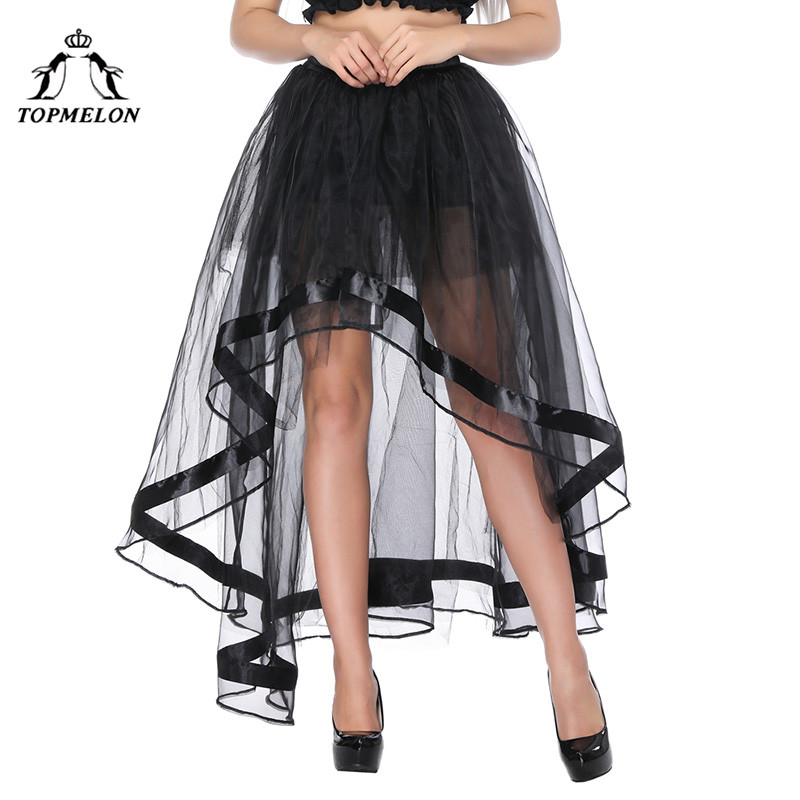 TOPMELON Long Corset Steampunk Skirt Sexy Transparent Tulle Mesh Skirts for Women Female 39 s Black Gothic Skirts for Shows Party in Skirts from Women 39 s Clothing