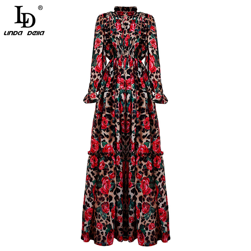 Image 5 - LD LINDA DELLA Fashion Runway Long Sleeve Maxi Dresses Women's Elegant Party Rose Floral Leopard Print Long Dress Holiday Dress-in Dresses from Women's Clothing