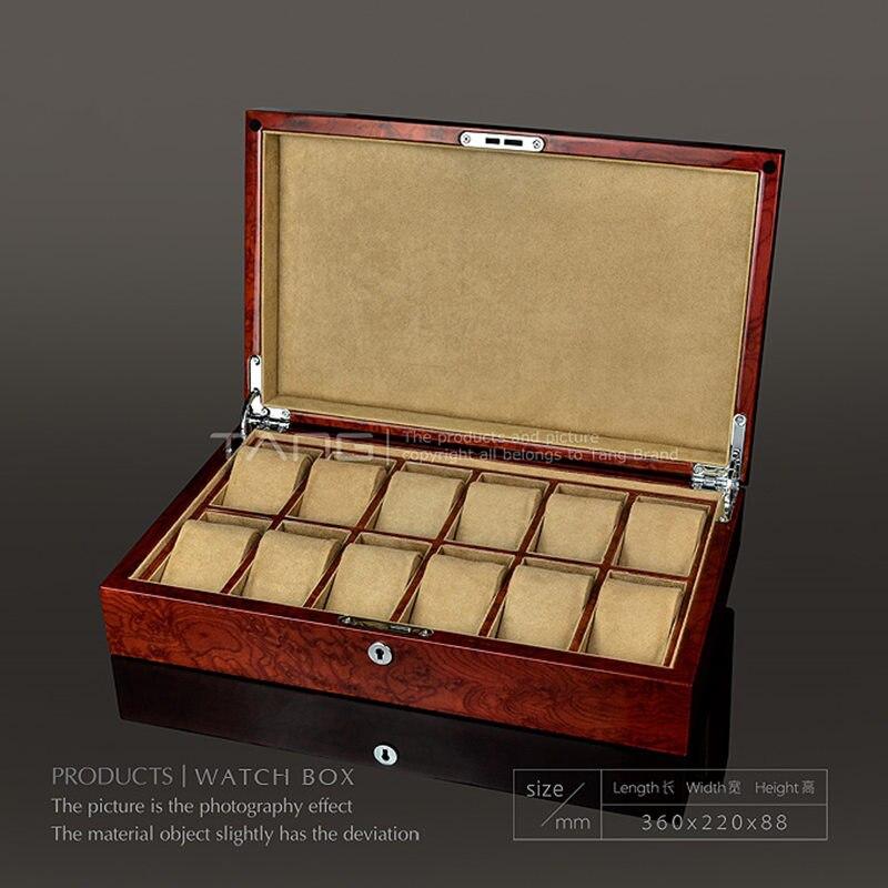 Bei 12 Slots Massivholz Uhr Box Fall Neue Licht Rot Farbe Uhr Lagerung Fällen Mit Sperre Uhr Display Fall W054-92 Uhrenzubehör Uhren