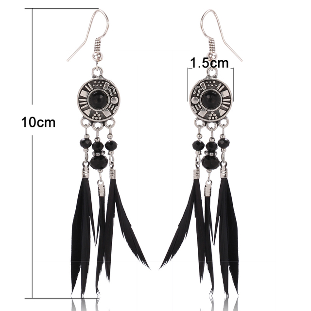 Black Feather Earrings Bronze Plated