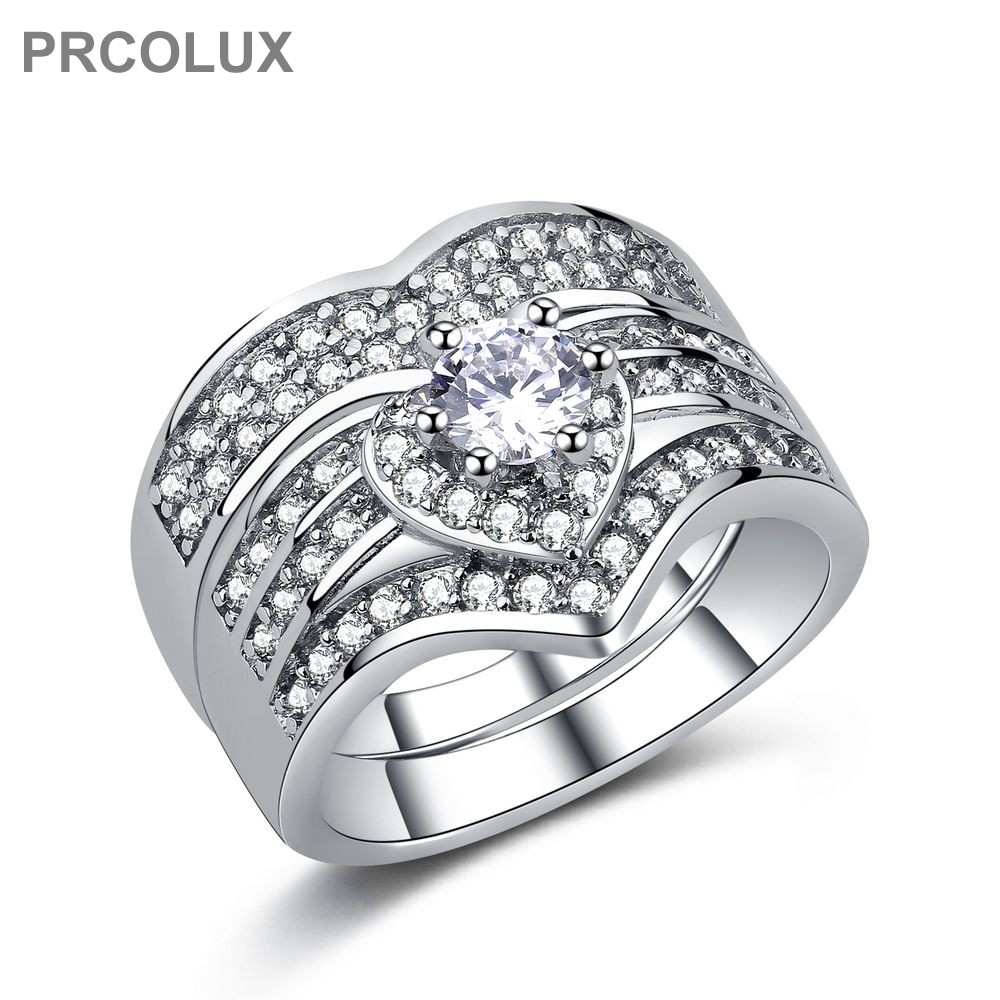 PRCOLUX Antique Female Geometric Ring Set 925 Sterling Silver jewelry White CZ Wedding Engagement Rings For Women Gifts QFA23