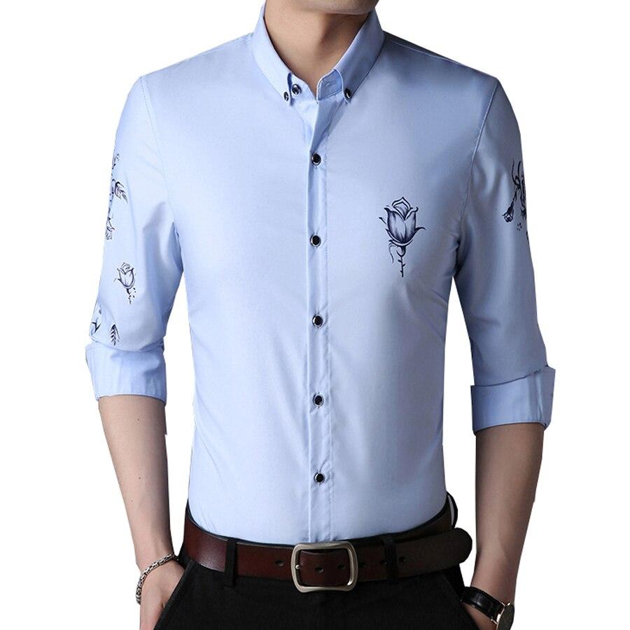 Rose Flower Men Formal Shirt Long Sleeve Business Casual Sli