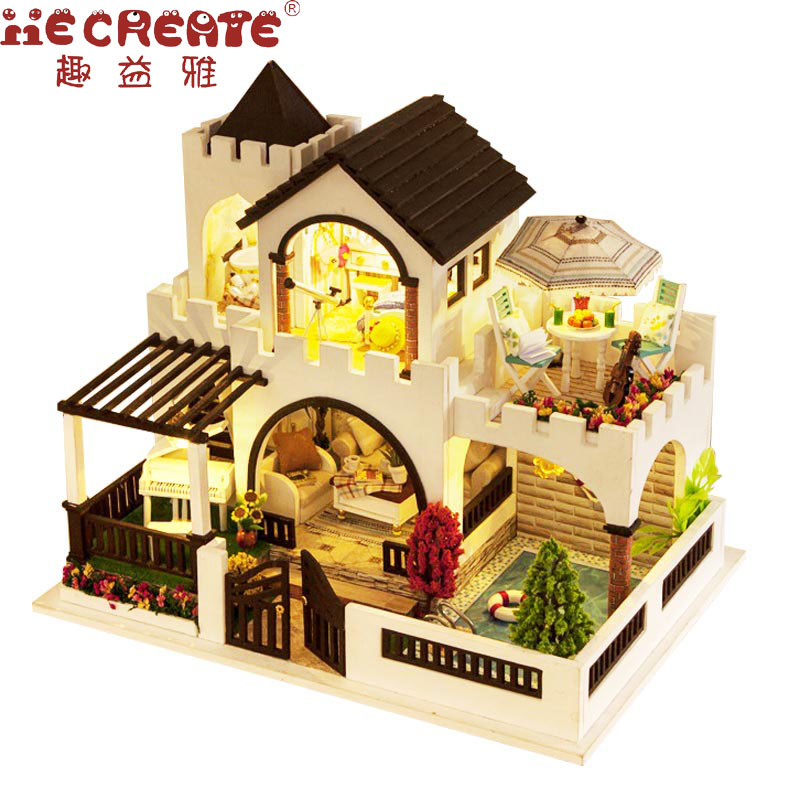 Furniture DIY Doll House Wooden My Dream Castle Girls Toy Handmade Doll house Wood DIY Home Decor Toys For Children Girl Gift mother garden high quality wood toy wind story green tea wooden kitchen toys set