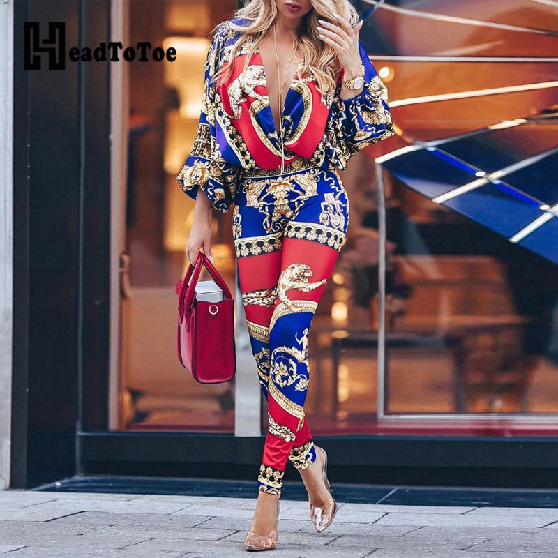 Colorblock Exotic Print Lantern Sleeve   Jumpsuit   Women Sexy V-neck Long Sleeve   Jumpsuit   Streetwear Casual One Piece Overalls