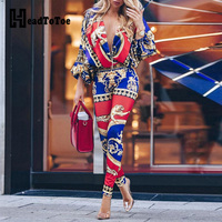 Colorblock Exotic Print Lantern Sleeve Jumpsuit Women Sexy V neck Long Sleeve Jumpsuit Streetwear Casual One Piece Overalls
