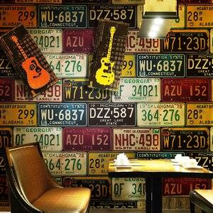Image 2 - לופט רטרו 3d pvc טפט תכונה רכב רישיון צלחת פח רטרו רקע ויניל קיר נייר עבור בר מסעדת KTV רקע