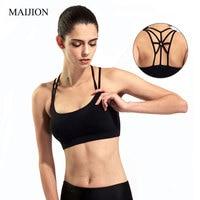 MAIJION Sexy Women Breathable Padded Bra Cross Crop Tops Female Professional Fitness Bra Stretch Tank Seamless